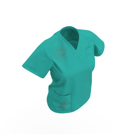 Green doctor uniform t-shirt stained with blood for woman isolated on white background. No people. 3D illustration