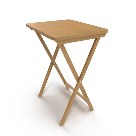 Folding wooden table on a white background. 3D illustration