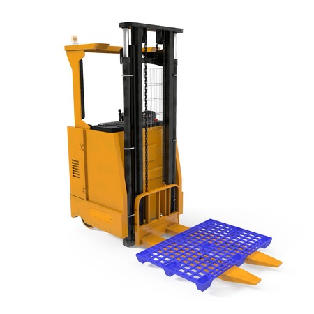Modern forklift truck with plastic pallet isolated on white background. 3D illustration