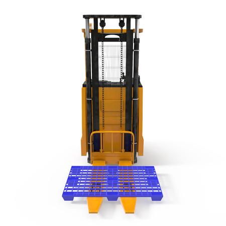 cargador frontal: carretilla elevadora moderna con palet de plástico aisladas sobre fondo blanco. ilustración 3D