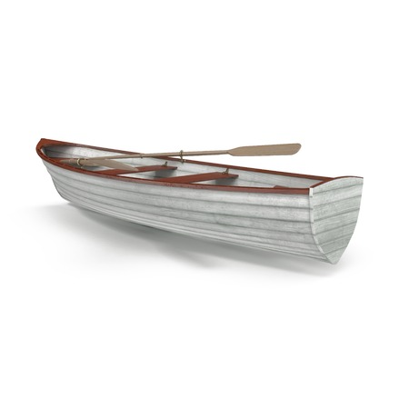 Wooden row boat on white background. Top view. 3D illustration Imagens