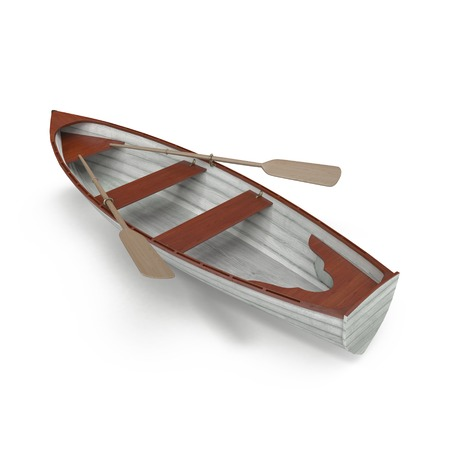 rowboat: Wooden row boat on white background. Top view. 3D illustration Stock Photo