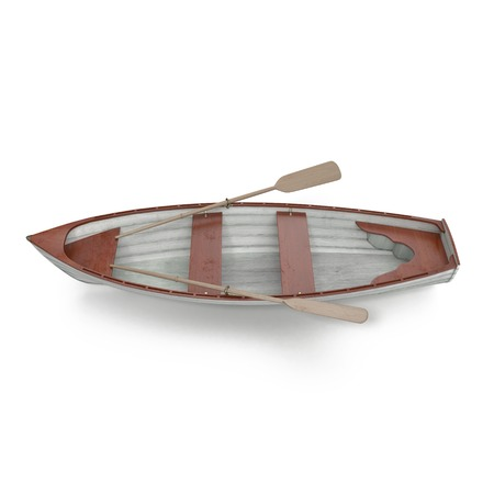 3d boat: Wooden row boat on white background. Top view. 3D illustration Stock Photo