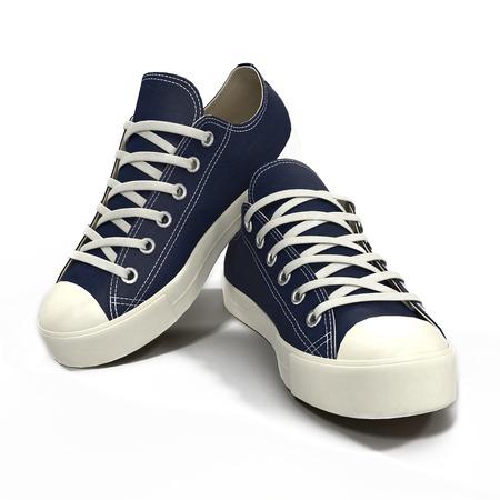Wygodne dla sportu męskie niebieskie trampki. Prezentowane na białym tle. Ilustracja 3D Zdjęcie Seryjne