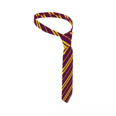 strip shirt: Violet Tie with yellow strips , evening dress, isolated on white background. 3D illustration