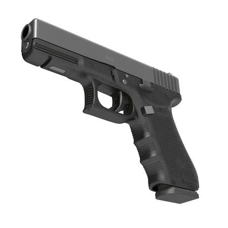 Isolated black pistol on white background. 3D illustration Stock Photo