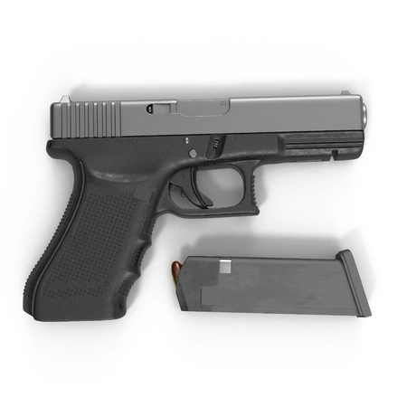 semi automatic: Semi automatic pistol with magazine and ammo on a white background. 3D illustration