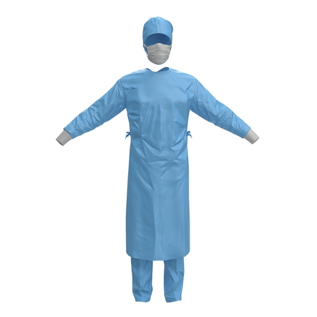 surgeon mask: Medical workers clothes isolated on white. No people. 3D illustration Stock Photo