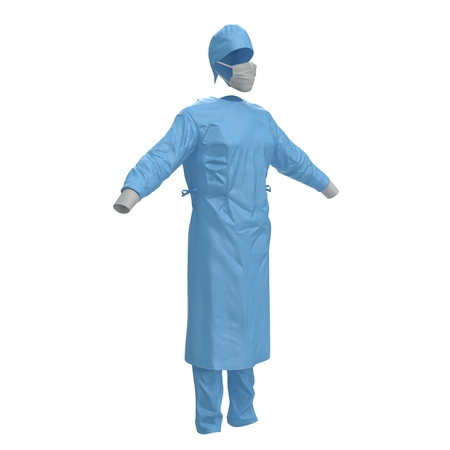 man standing alone: Medical workers clothes isolated on white. No people. 3D illustration Stock Photo