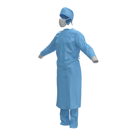 Blue doctor uniform with stethoscope isolated on white background. No people. 3D illustration