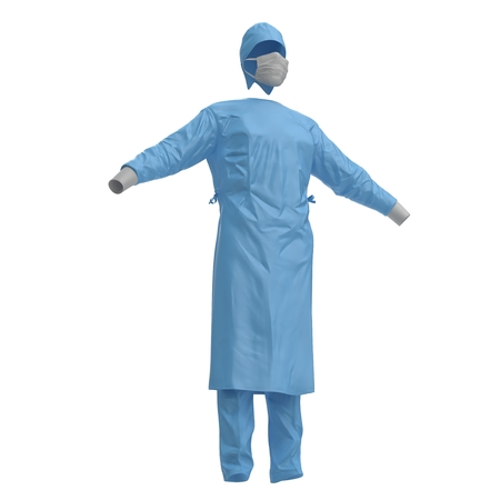 work clothes: Blue doctor uniform with stethoscope isolated on white background. No people. 3D illustration