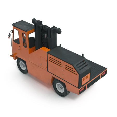 Side Loading Orange Forklift Truck isolated on white background 3D Illustration