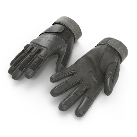 tactical: Blackhawk military tactical gloves leather. US Soldier gloves on white background. 3D illustration