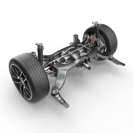Sedan back suspension with new tire on white background. 3D illustration Stock Photo
