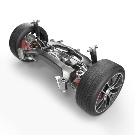 Car back suspension with disc brake on white background. 3D illustration Stock Photo