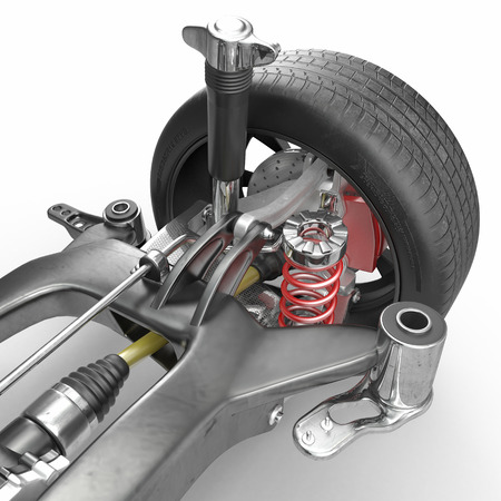 brake disc: Car disc brake with red caliper, and back suspension on white background. 3D illustration