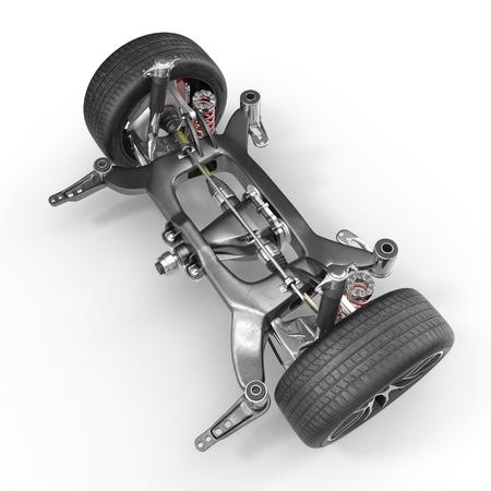 Shock Absorber and car suspension on white background. 3D illustration