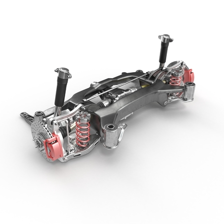 Back axle with suspension and absorber on white background. 3D illustration
