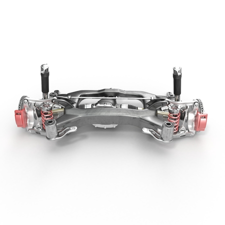 alloy wheel: Back axle with suspension and absorber on white background. 3D illustration