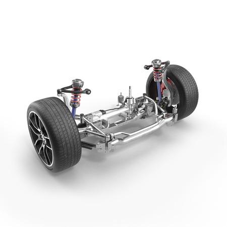 shock absorber: Shock Absorber and car suspension on white background. 3D illustration
