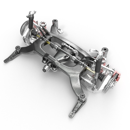 Sedan back suspension on white background. 3D illustration