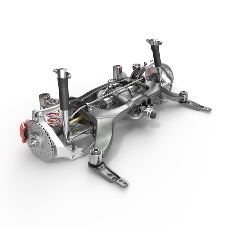 Sedan back suspension on white background. 3D illustration