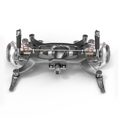 axle: Sedan back suspension on white background. 3D illustration