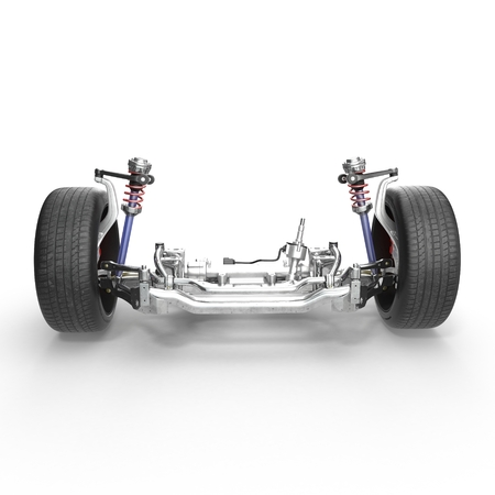 Sedan front suspension with new tire on white background. 3D illustration