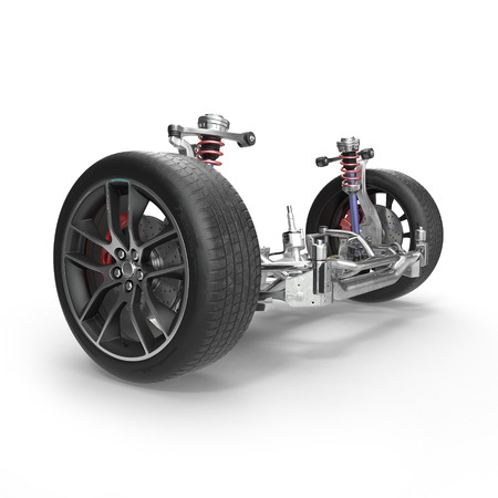brake disc: Car front suspension with disc brake on white background. 3D illustration Stock Photo