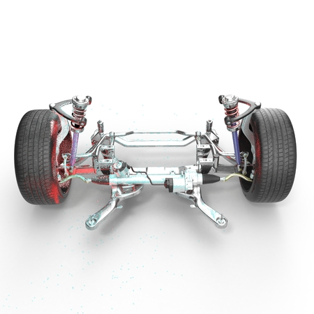 alloy wheel: Shock Absorber and car suspension on white background. 3D illustration