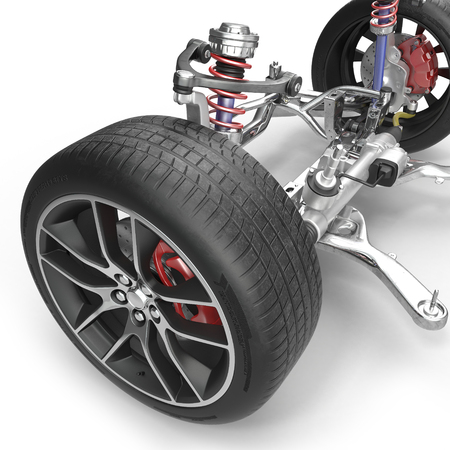 shaft: Front suspension with wheel of drive car. New tire. On white background. 3D illustration