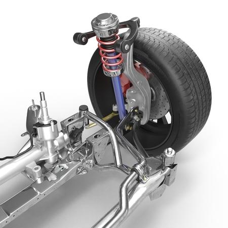 Suspensión delantera con la rueda del coche de tracción. Nuevo neumático. En el fondo blanco. ilustración 3D Foto de archivo