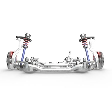 brake caliper: Car disc brake with red caliper, and front suspension on white background. 3D illustration