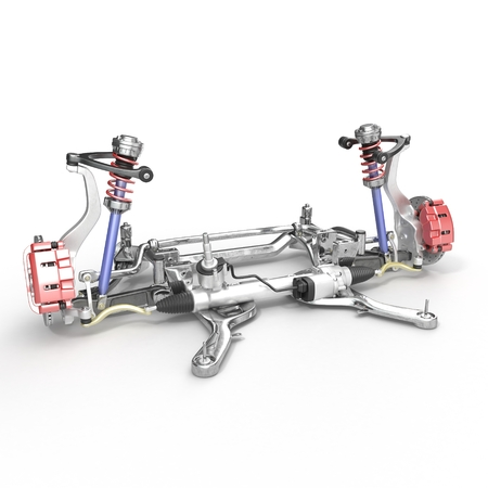 axle: Front axle with suspension and absorber on white background. 3D illustration Stock Photo