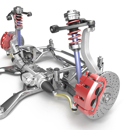 Front axle with suspension and absorber on white background. 3D illustration Stock Photo