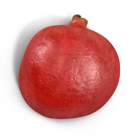 Part of pomegranate fruit isolated on white background. Closeup. 3D illustration Stock Photo