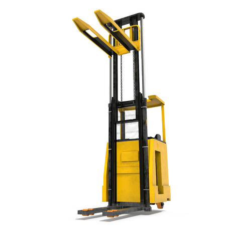 Front view of electric powered forklift isolated on white background. 3D illustration Stock Photo
