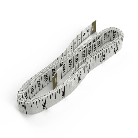 Measuring tape of the tailor on white background. 3D illustration Stock Photo