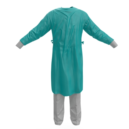surgeon mask: Medical workers clothes isolated on white background. 3D illustration Stock Photo
