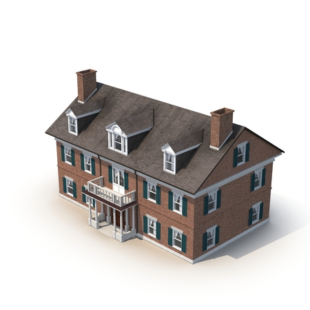 Classic colonial brick house isolated on white background. 3D illustration