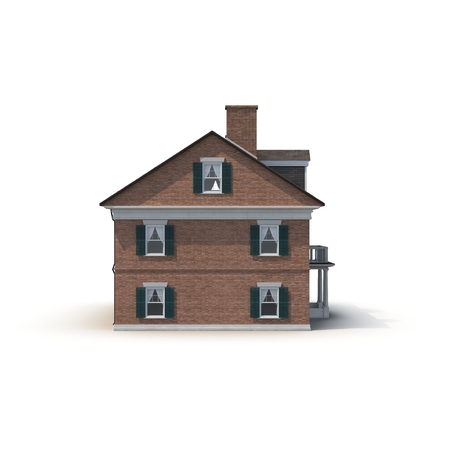 colonial building: Derby House, historic colonial building on white background. Side view. 3D illustration Stock Photo