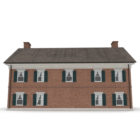 Classic Colonial Brick House Isolated On White Background 3D