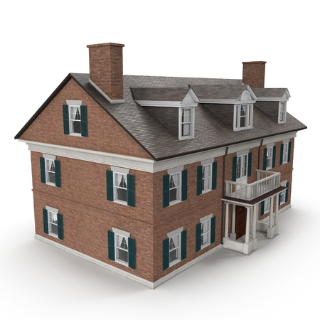 two story: Large two story vintage Colonial style house on white background. 3D illustration Stock Photo