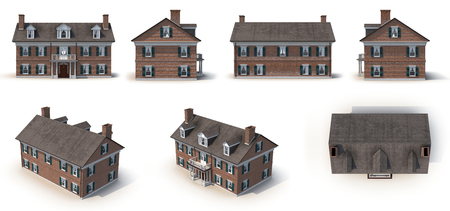 colonial house: Red brick Colonial Architecture style renders set from different angles on a white background. 3D illustration Stock Photo