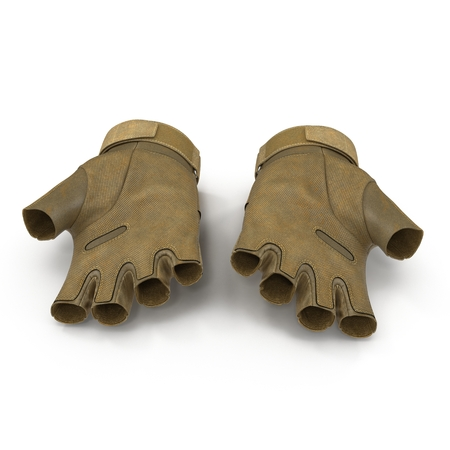 tactical: Tactical military short finger gloves, detail of part of Us soldier uniform. Isolated on white background. 3D illustration