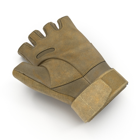 tactical: Soldier outdoor cycling ride tactical military short finger glove on white background. 3D illustration