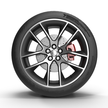 Automotive wiel op lichtmetalen disc op een witte achtergrond. 3D illustratie Stockfoto