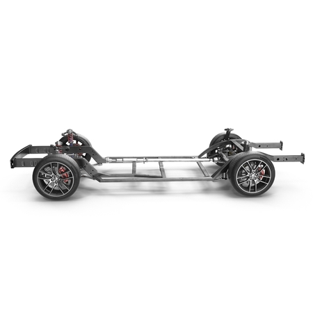 axle: Car chassis without engine on white background. 3D illustration Stock Photo