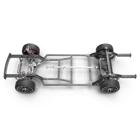 chassis: Car chassis without engine on white background. 3D illustration Stock Photo