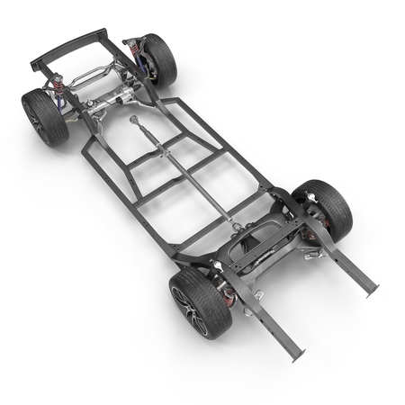axle: Render of car chassis without engine isolated on white background. 3D illustration Stock Photo